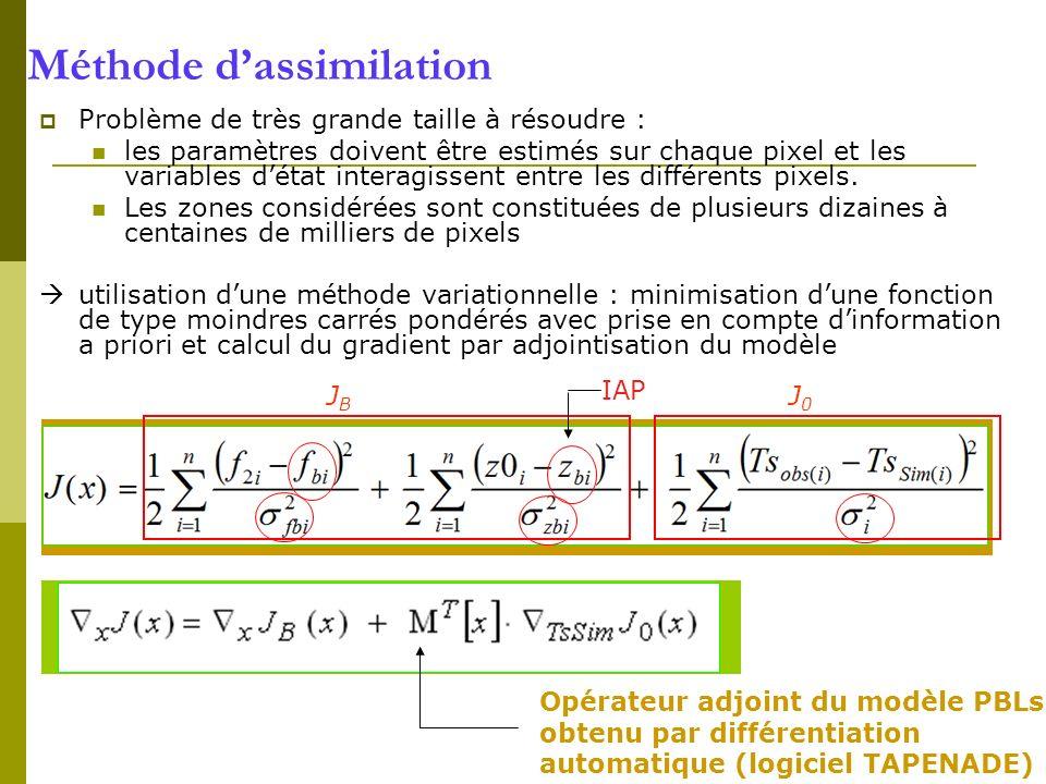 Méthode dassimilation Problème de très grande taille à résoudre : les paramètres doivent être estimés sur chaque pixel et les variables détat interagi