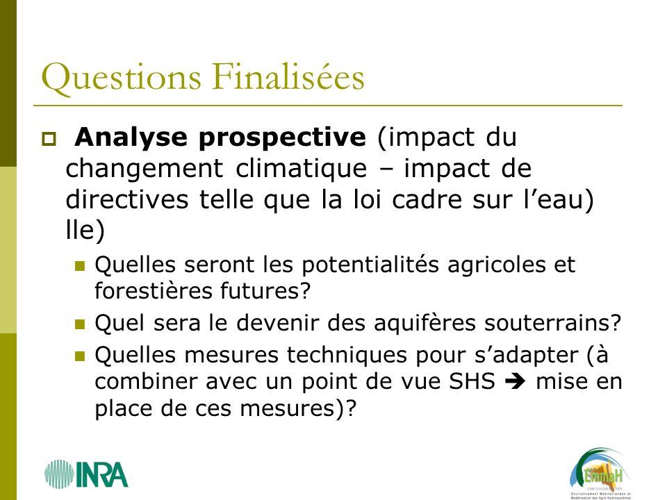 Questions Finalisées Analyse prospective (impact du changement climatique – impact de directives telle que la loi cadre sur leau) lle) Quelles seront