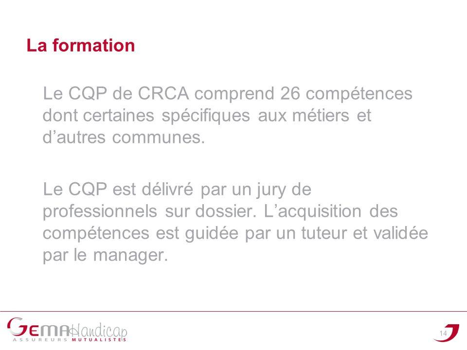14 Le CQP de CRCA comprend 26 compétences dont certaines spécifiques aux métiers et dautres communes. Le CQP est délivré par un jury de professionnels