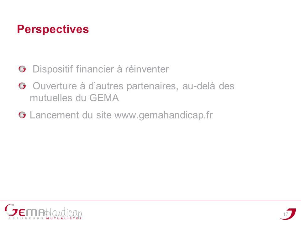 Dispositif financier à réinventer Ouverture à dautres partenaires, au-delà des mutuelles du GEMA Lancement du site www.gemahandicap.fr 17 Perspectives