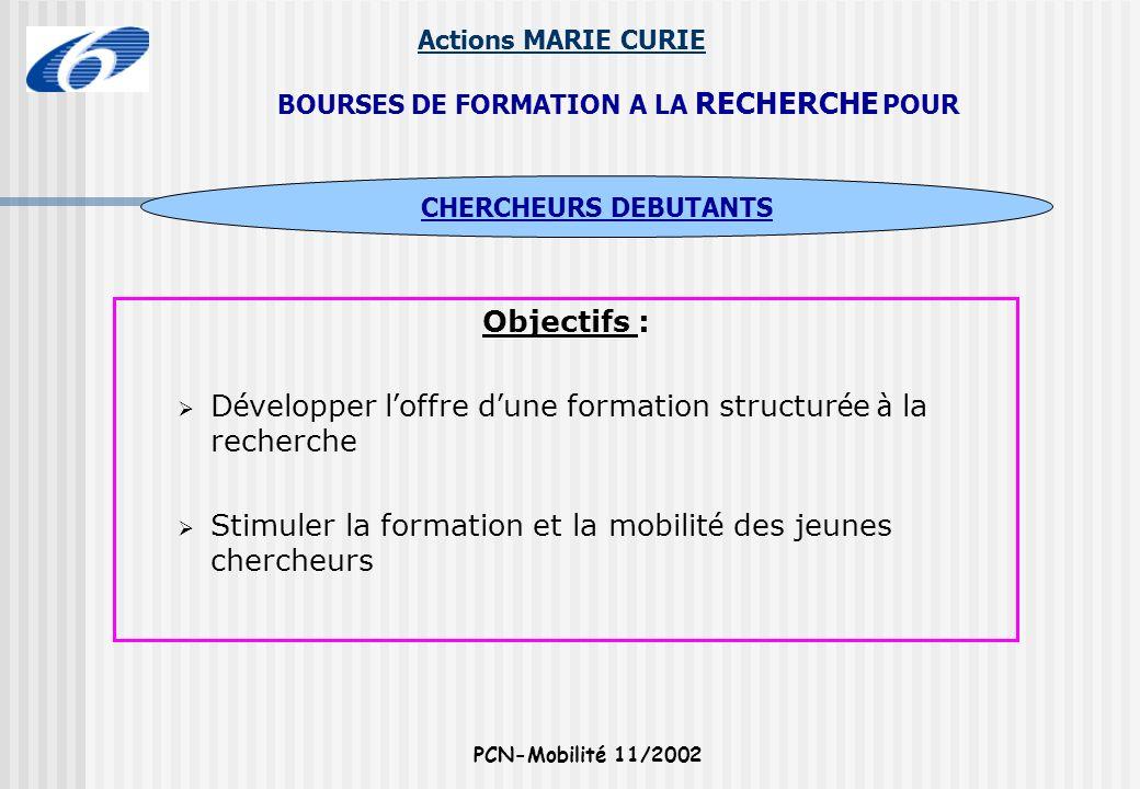 Actions MARIE CURIE PCN-Mobilité 11/2002 Objectifs : D é velopper l offre d une formation structur é e à la recherche Stimuler la formation et la mobi