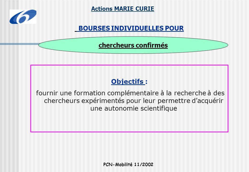 Actions MARIE CURIE PCN-Mobilité 11/2002 Objectifs : fournir une formation compl é mentaire à la recherche à des chercheurs exp é riment é s pour leur