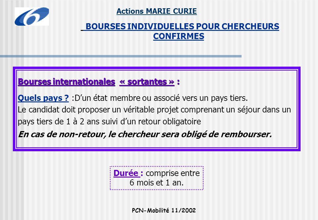 Actions MARIE CURIE PCN-Mobilité 11/2002 BOURSES INDIVIDUELLES POUR CHERCHEURS CONFIRMES Bourses internationales « sortantes » : Quels pays ? :Dun éta