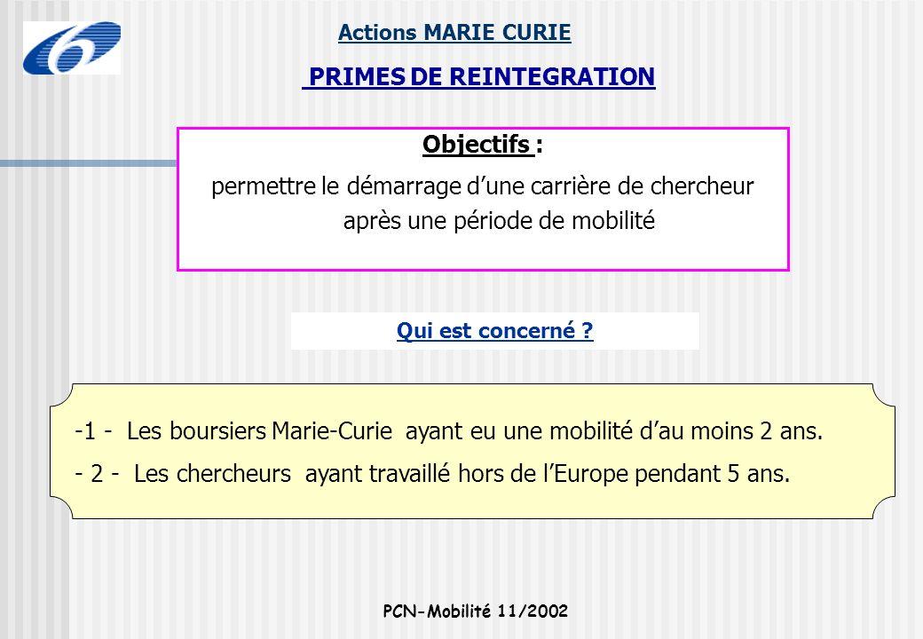 Actions MARIE CURIE PCN-Mobilité 11/2002 -1 - Les boursiers Marie-Curie ayant eu une mobilité dau moins 2 ans. - 2 - Les chercheurs ayant travaillé ho