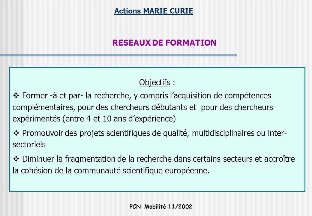 Actions MARIE CURIE PCN-Mobilité 11/2002 RESEAUX DE FORMATION Objectifs : Former -à et par- la recherche, y compris lacquisition de compétences complé