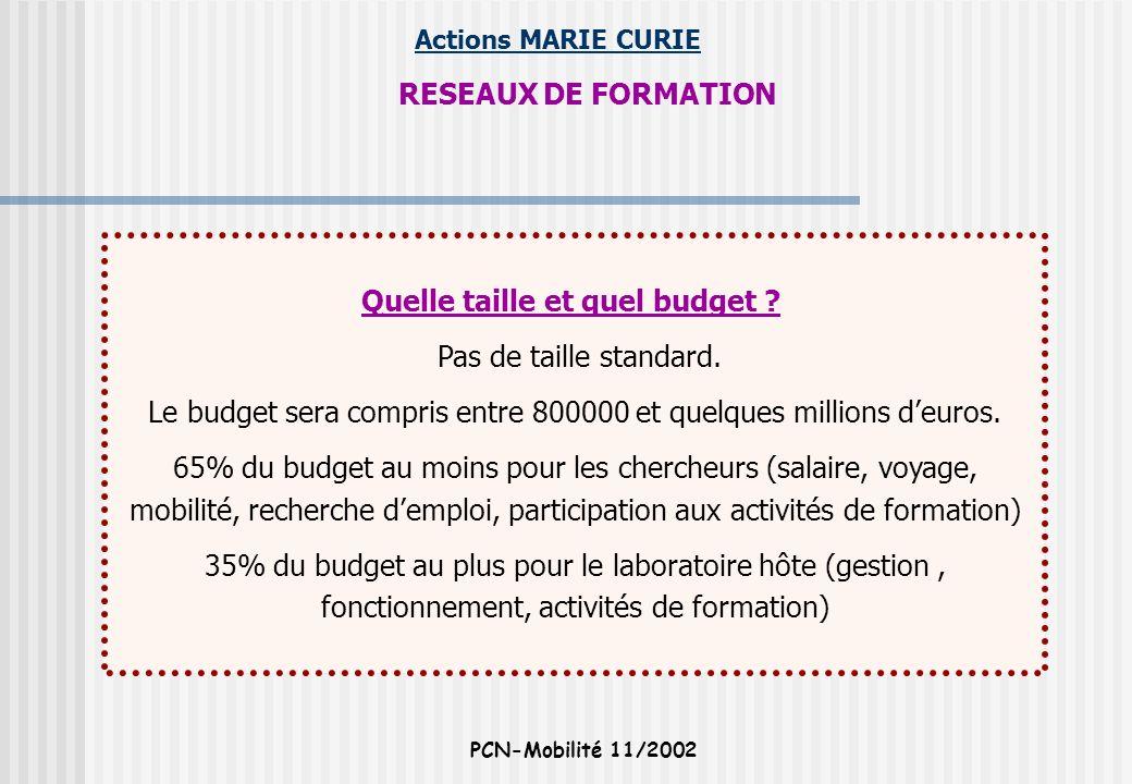 Actions MARIE CURIE PCN-Mobilité 11/2002 RESEAUX DE FORMATION Quelle taille et quel budget ? Pas de taille standard. Le budget sera compris entre 8000