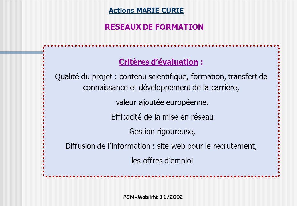 Actions MARIE CURIE PCN-Mobilité 11/2002 RESEAUX DE FORMATION Critères dévaluation : Qualité du projet : contenu scientifique, formation, transfert de