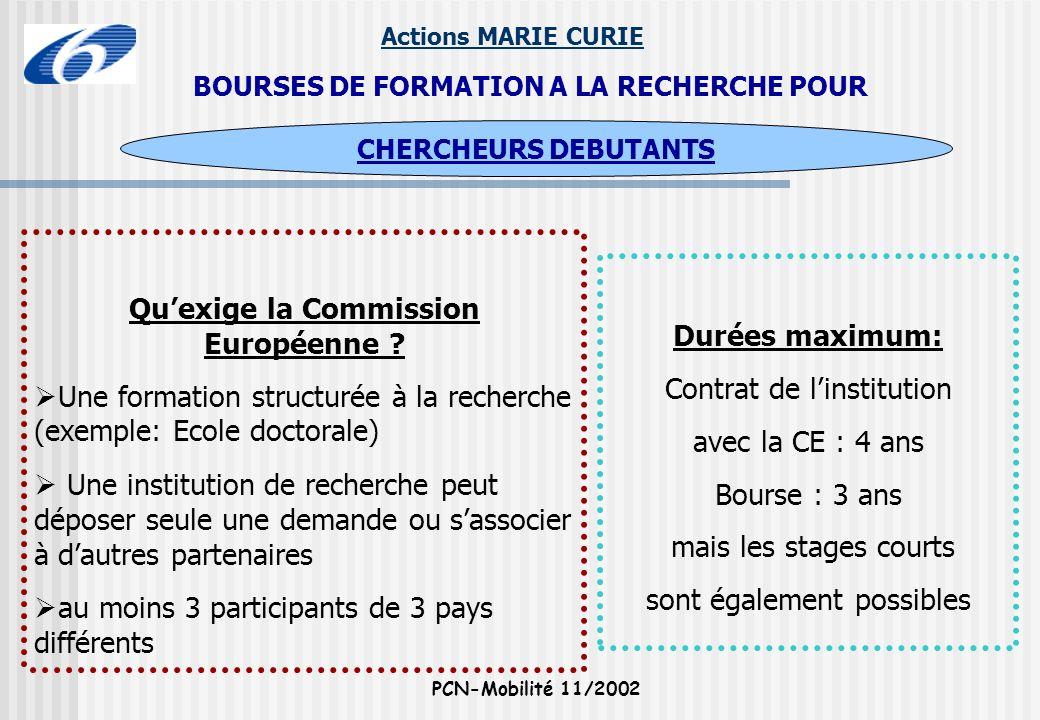Actions MARIE CURIE PCN-Mobilité 11/2002 BOURSES DE FORMATION A LA RECHERCHE POUR Quexige la Commission Européenne ? Une formation structurée à la rec