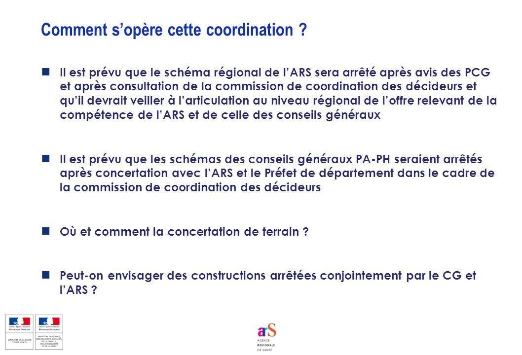 Il est prévu que le schéma régional de lARS sera arrêté après avis des PCG et après consultation de la commission de coordination des décideurs et qui