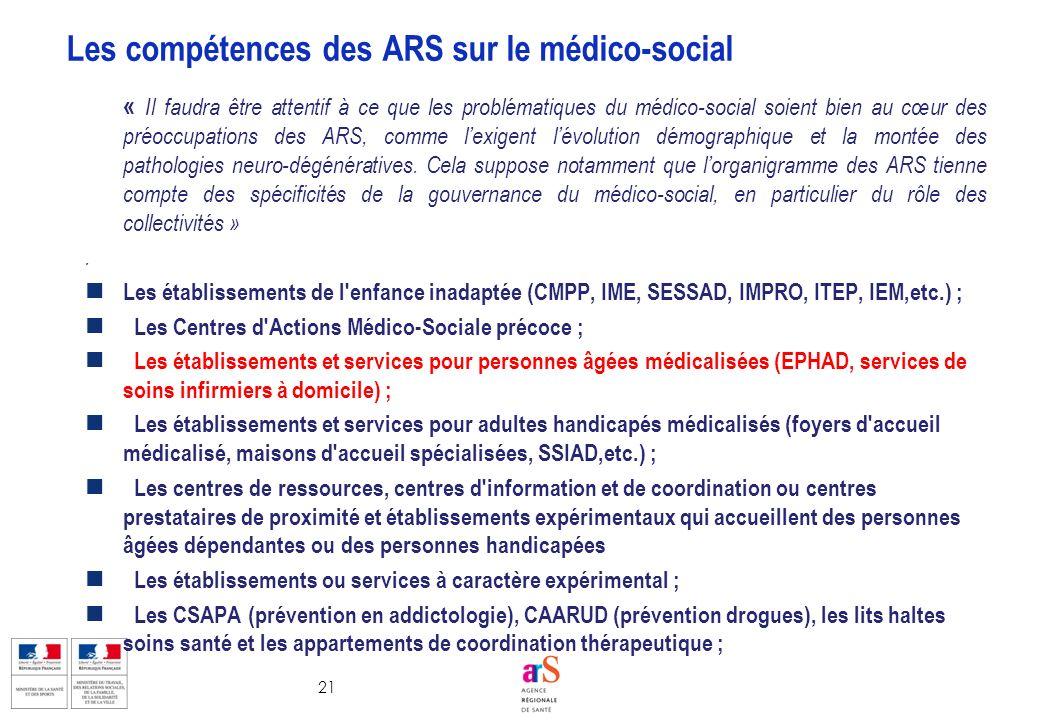 21 « Il faudra être attentif à ce que les problématiques du médico-social soient bien au cœur des préoccupations des ARS, comme lexigent lévolution dé