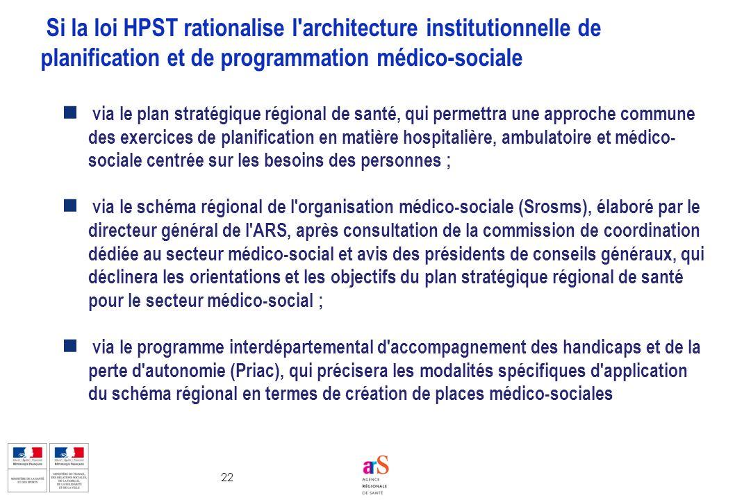 22 via le plan stratégique régional de santé, qui permettra une approche commune des exercices de planification en matière hospitalière, ambulatoire e