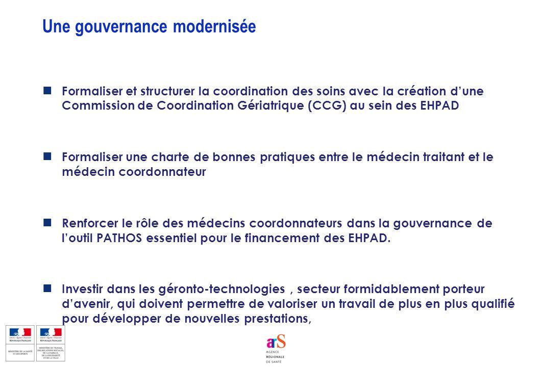 Formaliser et structurer la coordination des soins avec la création dune Commission de Coordination Gériatrique (CCG) au sein des EHPAD Formaliser une