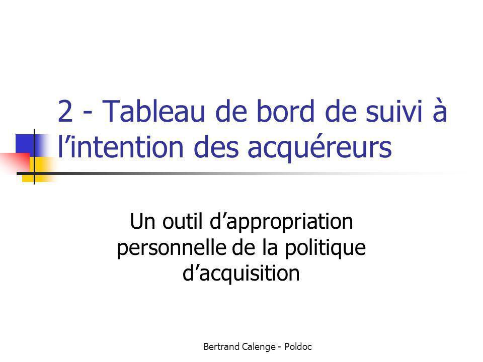 Bertrand Calenge - Poldoc 2 - Tableau de bord de suivi à lintention des acquéreurs Un outil dappropriation personnelle de la politique dacquisition