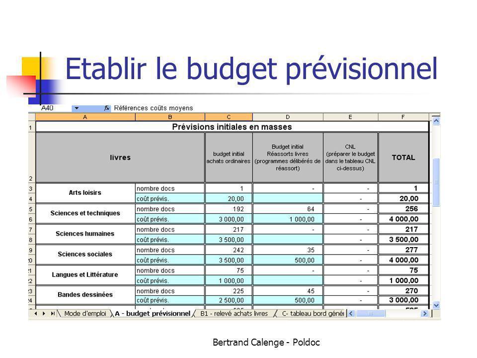 Bertrand Calenge - Poldoc Etablir le budget prévisionnel