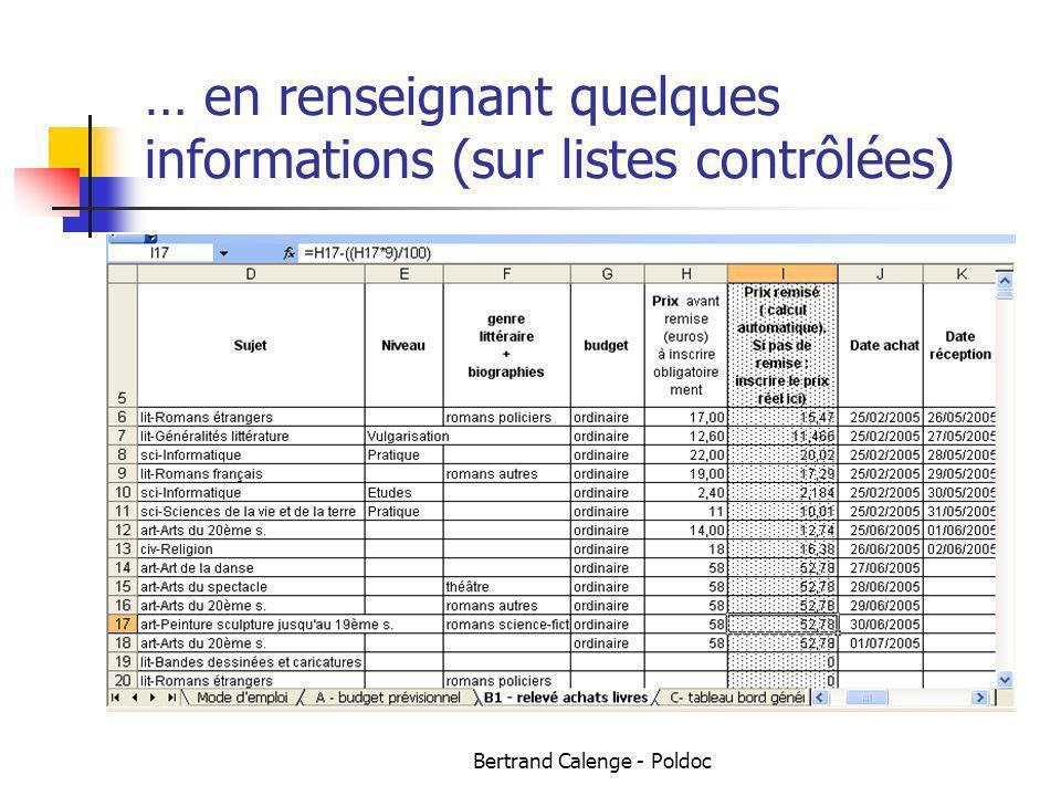 Bertrand Calenge - Poldoc … en renseignant quelques informations (sur listes contrôlées)
