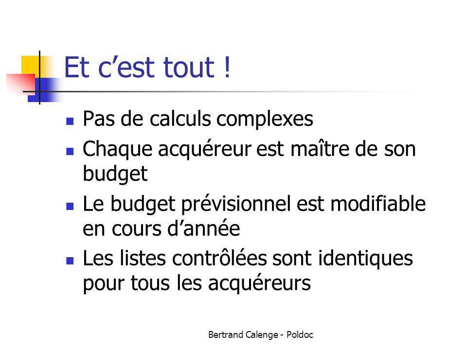 Bertrand Calenge - Poldoc Et cest tout ! Pas de calculs complexes Chaque acquéreur est maître de son budget Le budget prévisionnel est modifiable en c