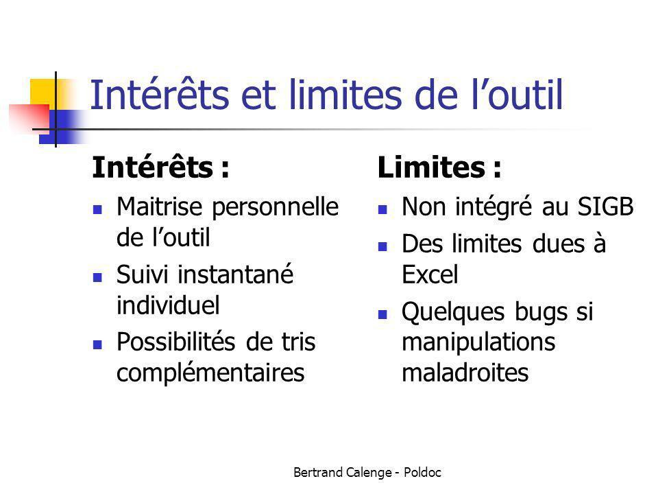 Bertrand Calenge - Poldoc Intérêts et limites de loutil Intérêts : Maitrise personnelle de loutil Suivi instantané individuel Possibilités de tris com