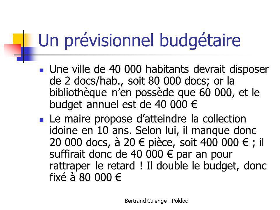 Bertrand Calenge - Poldoc Un prévisionnel budgétaire Une ville de 40 000 habitants devrait disposer de 2 docs/hab., soit 80 000 docs; or la bibliothèq