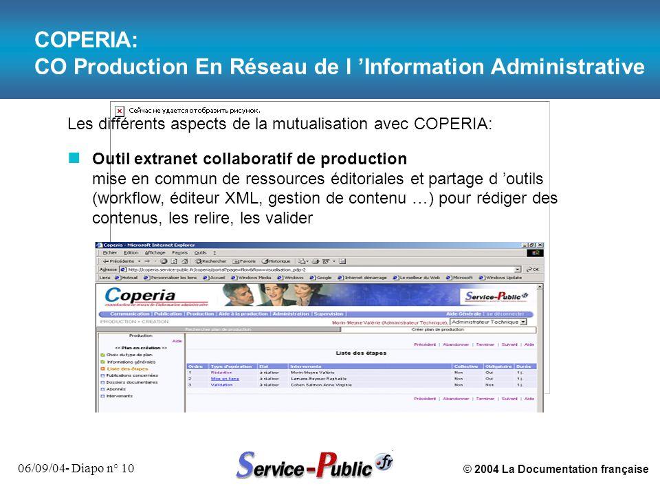 © 2004 La Documentation française 06/09/04- Diapo n° 10 COPERIA: CO Production En Réseau de l Information Administrative Les différents aspects de la