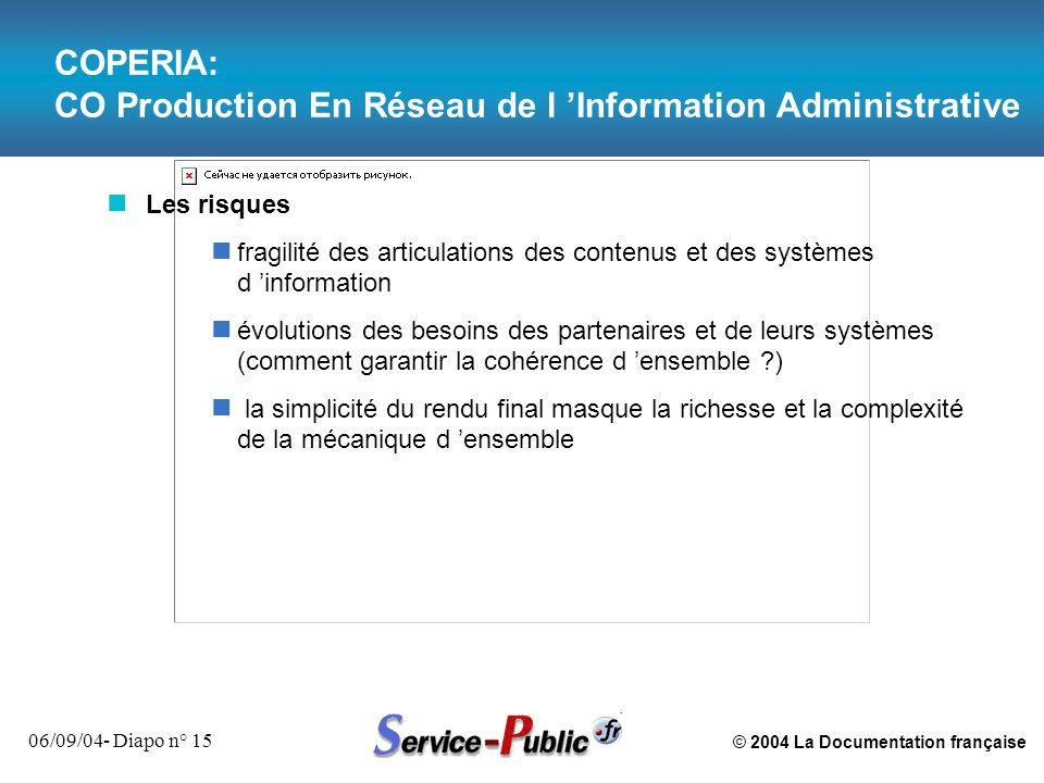 © 2004 La Documentation française 06/09/04- Diapo n° 15 COPERIA: CO Production En Réseau de l Information Administrative n Les risques n fragilité des