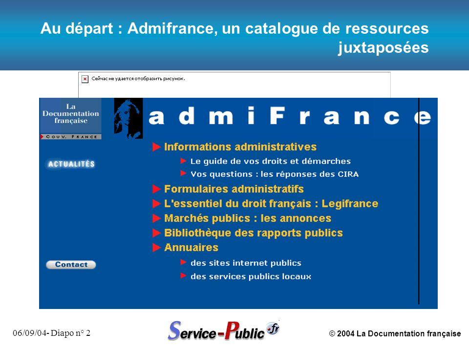 © 2004 La Documentation française 06/09/04- Diapo n° 3 2001: Ouverture de Service-public.fr, portail de l administration, et mise en réseau des ressources