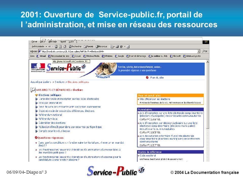 © 2004 La Documentation française 06/09/04- Diapo n° 3 2001: Ouverture de Service-public.fr, portail de l administration, et mise en réseau des ressou
