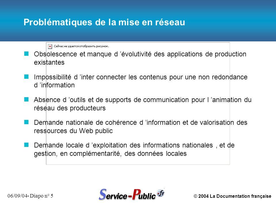 © 2004 La Documentation française 06/09/04- Diapo n° 5 Problématiques de la mise en réseau n Obsolescence et manque d évolutivité des applications de