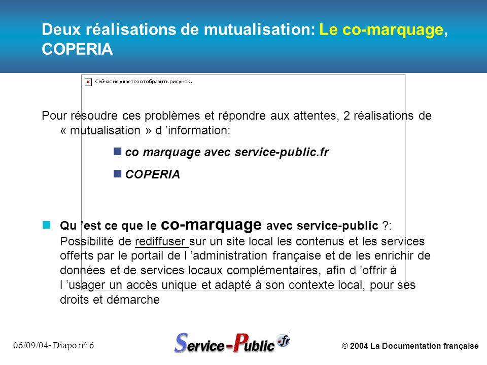 © 2004 La Documentation française 06/09/04- Diapo n° 6 Deux réalisations de mutualisation: Le co-marquage, COPERIA Pour résoudre ces problèmes et répo