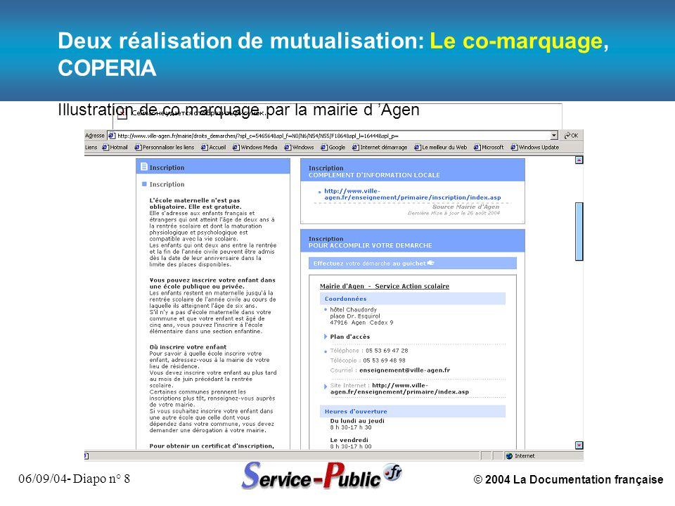 © 2004 La Documentation française 06/09/04- Diapo n° 8 Deux réalisation de mutualisation: Le co-marquage, COPERIA Illustration de co marquage par la m