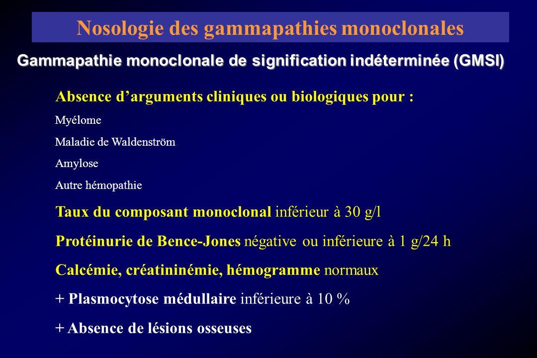 Gammapathie monoclonale de signification indéterminée (GMSI) Nosologie des gammapathies monoclonales Absence darguments cliniques ou biologiques pour