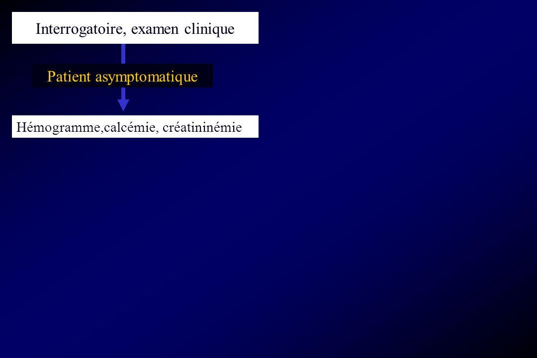 Patient asymptomatique Hémogramme,calcémie, créatininémie