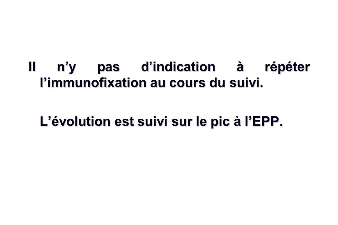 Il ny pas dindication à répéter limmunofixation au cours du suivi. Lévolution est suivi sur le pic à lEPP.