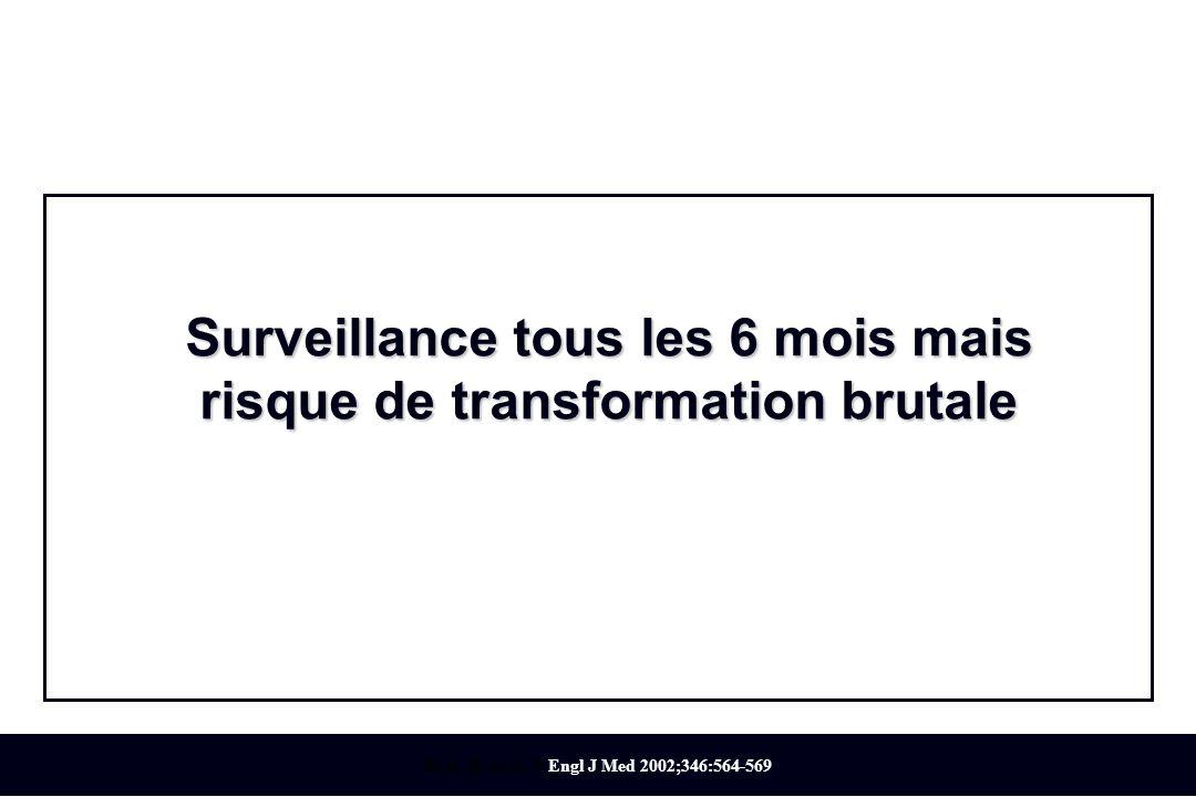Kyle, R. et al. N Engl J Med 2002;346:564-569 Surveillance tous les 6 mois mais risque de transformation brutale