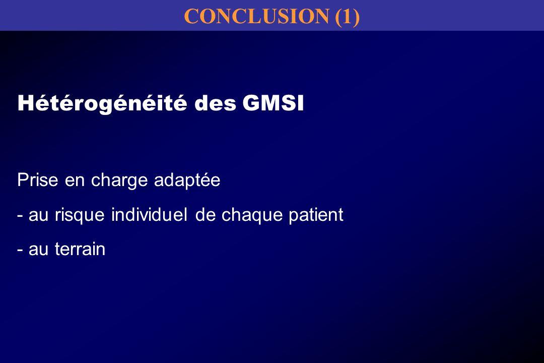 Hétérogénéité des GMSI Prise en charge adaptée - au risque individuel de chaque patient - au terrain CONCLUSION (1)
