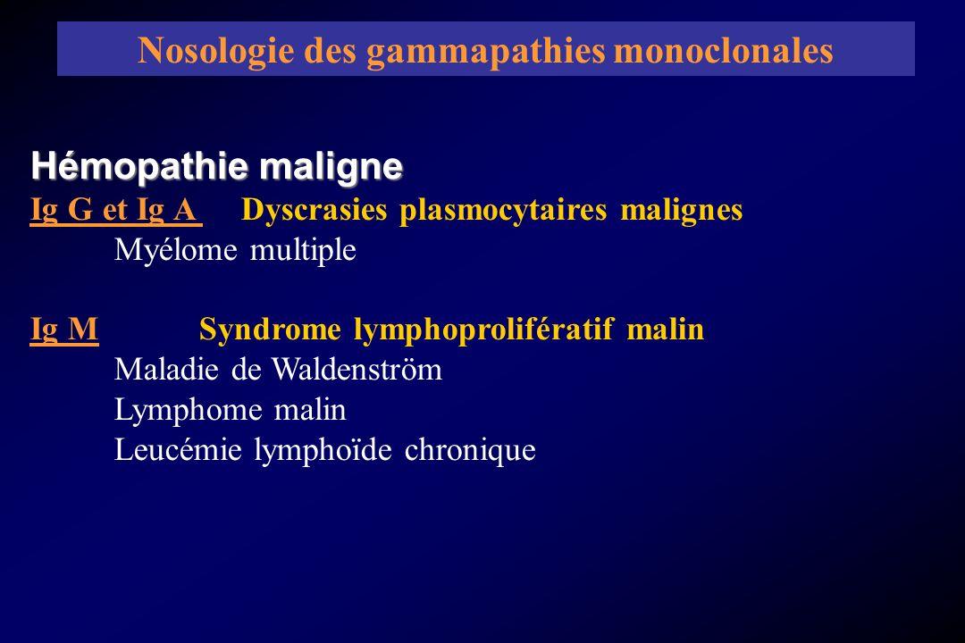 Hémopathie maligne Ig G et Ig A Dyscrasies plasmocytaires malignes Myélome multiple Ig M Syndrome lymphoprolifératif malin Maladie de Waldenström Lymp