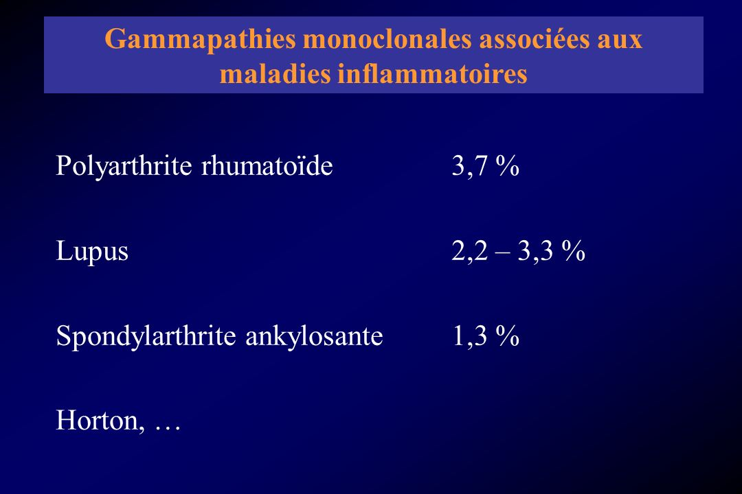 - Lésions osseuses - Syndrome dhyperviscosité - Amylose - Infections bactériennes à répétition - Hypercalcémie - Insuffisance rénale - Anémie *Atteinte organique Criteria for the classification of monoclonal gammopathies, multiple myeloma and related disorders: a report of the International Myeloma Working Group.