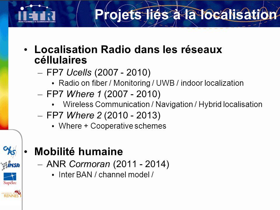 Projets liés à la localisation Localisation Radio dans les réseaux céllulaires – FP7 Ucells (2007 - 2010) Radio on fiber / Monitoring / UWB / indoor l