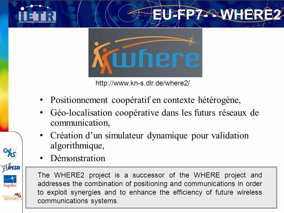 EU-FP7- - WHERE2 Positionnement coopératif en contexte hétérogène, Géo-localisation coopérative dans les futurs réseaux de communication, Création dun