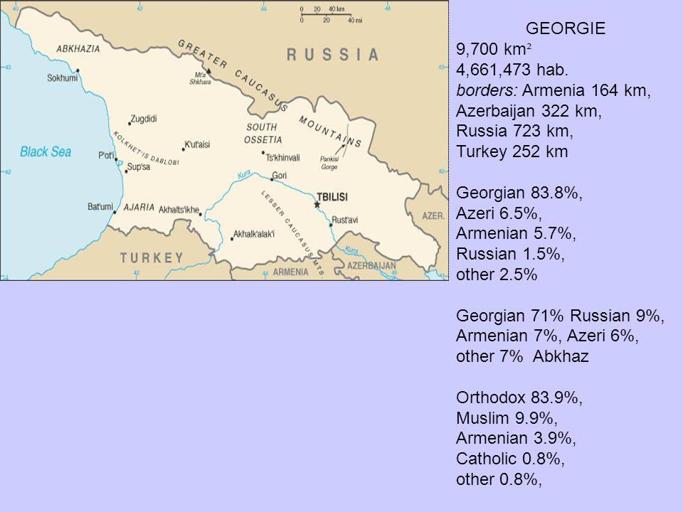 GEORGIE 9,700 km ² 4,661,473 hab. borders: Armenia 164 km, Azerbaijan 322 km, Russia 723 km, Turkey 252 km Georgian 83.8%, Azeri 6.5%, Armenian 5.7%,