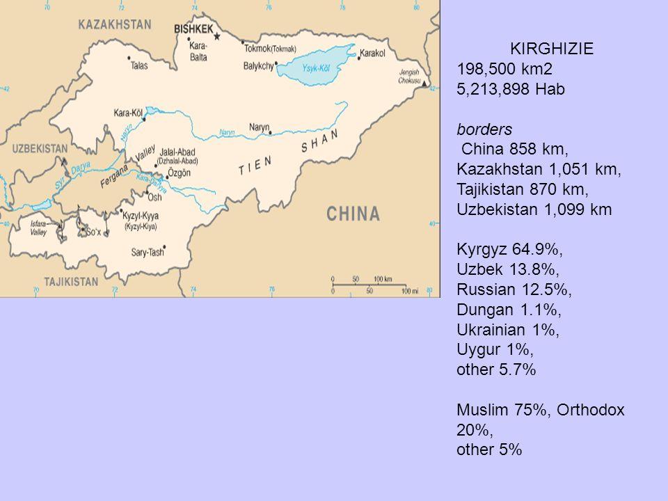 KIRGHIZIE 198,500 km2 5,213,898 Hab borders China 858 km, Kazakhstan 1,051 km, Tajikistan 870 km, Uzbekistan 1,099 km Kyrgyz 64.9%, Uzbek 13.8%, Russi