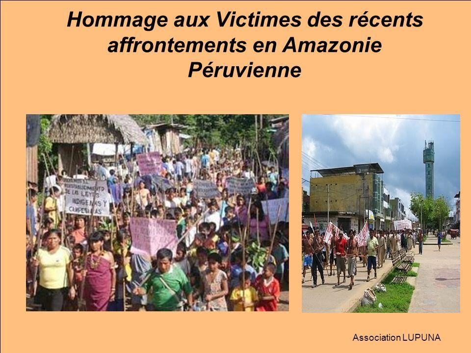 6- Affrontements à Bagua 5 au 7 juin 2009, Au moins 35 personnes, dont 24 policiers et 11 indiens d ethnie Aguaruna surtout, sont mortes en plusieurs vagues de heurts: d abord lors de la levée du blocus, puis au cours d émeutes qui ont suivi, enfin lors d une intervention militaire pour libérer des policiers pris en otages.