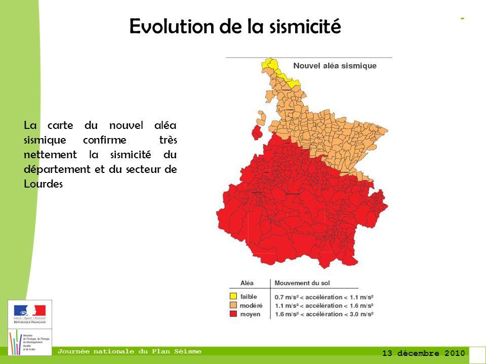Journée nationale du Plan Séisme 13 décembre 2010 Evolution de la sismicité La carte du nouvel aléa sismique confirme très nettement la sismicité du d