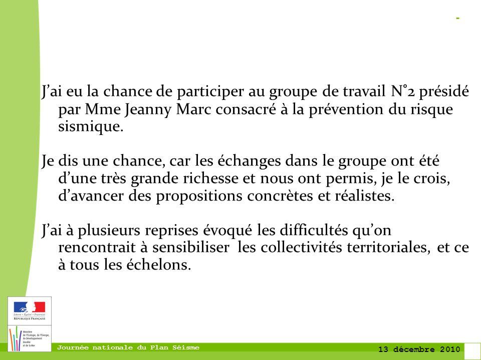 Journée nationale du Plan Séisme 13 décembre 2010 Jai eu la chance de participer au groupe de travail N°2 présidé par Mme Jeanny Marc consacré à la pr