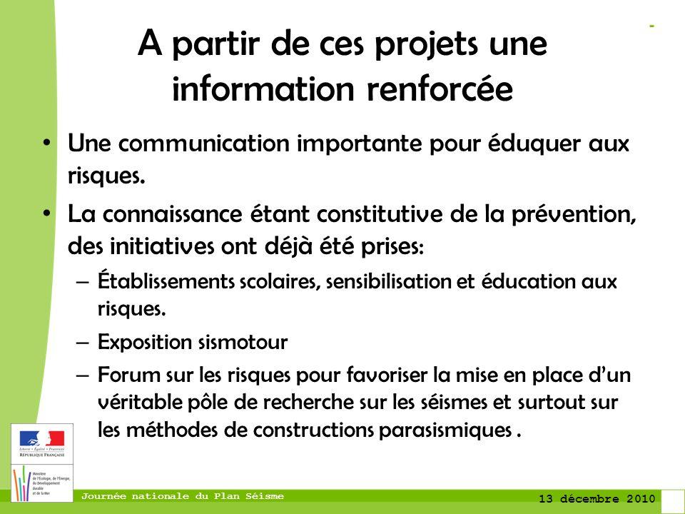 Journée nationale du Plan Séisme 13 décembre 2010 A partir de ces projets une information renforcée Une communication importante pour éduquer aux risq