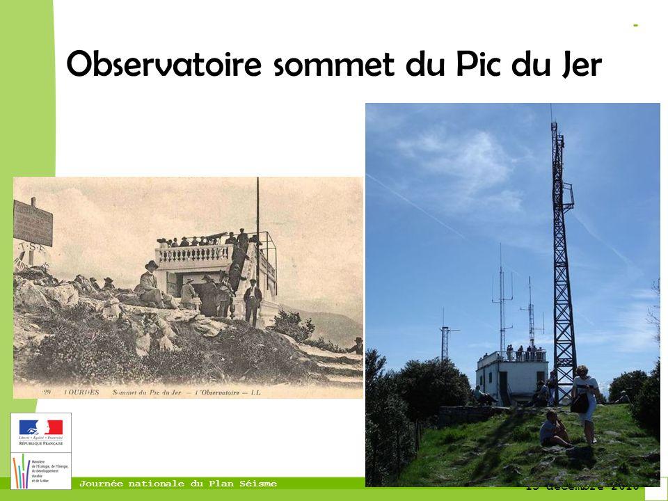 Journée nationale du Plan Séisme 13 décembre 2010 Observatoire sommet du Pic du Jer