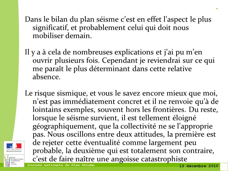 Journée nationale du Plan Séisme 13 décembre 2010 Evolution de la sismicité La carte du nouvel aléa sismique confirme très nettement la sismicité du département et du secteur de Lourdes
