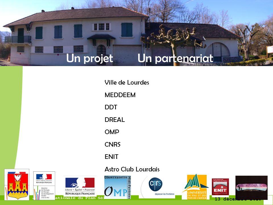 Journée nationale du Plan Séisme 13 décembre 2010 Un projet Un partenariat Ville de Lourdes MEDDEEM DDT DREAL OMP CNRS ENIT Astro Club Lourdais