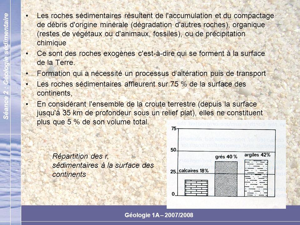 Séance 2 : Géologie sédimentaire Géologie 1A – 2007/2008 Des Calcaires aux Marnes On observe dans cette variété des degrés dinvasion des carbonates par les argiles Depuis les calcaires peu argileux aux marnes constituées dun mélange de calcite et de minéraux argileux (illite et chlorite) La sensibilité et laltérabilité de ces matériaux sont principalement fonction de leur teneur en eau On admet le terminologie suivante : CarbonatesArgiles Calcaires90 à 95 %0 à 5 % Calcaires argileux65 à 95 %5 à 35 % Marnes35 à 65 % Argiles calcaires5 à 35 %65 à 95 %