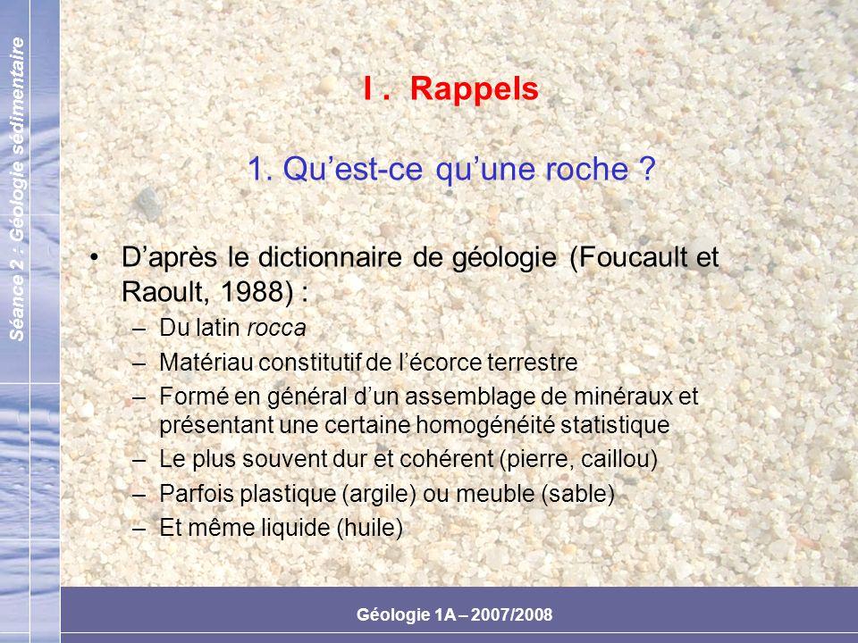Séance 2 : Géologie sédimentaire Géologie 1A – 2007/2008 1.Sable artificiellement composé 2.Sable des landes mis en place par voie hydraulique 3.Sable de Fontainebleau et de dunes (caractères communs dorigine éolienne) 4.Sable silteux de la vallée du Nil