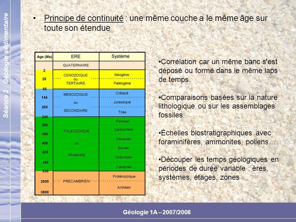 Séance 2 : Géologie sédimentaire Géologie 1A – 2007/2008 Milieu lacustre et marin : répartition des matériaux